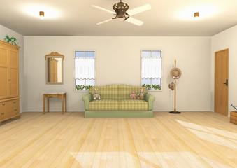 陽ざしの暖かな室内パース