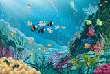 Underwater landscape with various water plants and fishes.EPS8