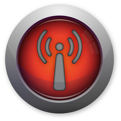 Wifi antenna symbol on red button