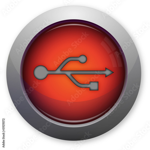 USB symbol on red button