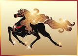 Galloping horse with a gold mane poster