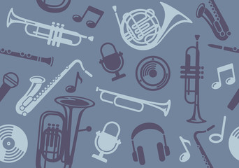 Seamless background with wind musical instruments