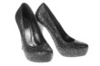 Women's black spotted  leather shoes