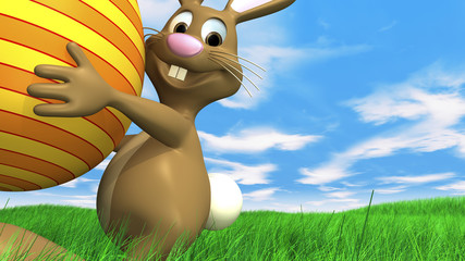 easter bunny is carrying easter egg