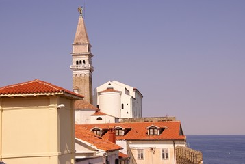 The saint George church in Piran in Slovenia