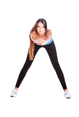 woman doing forward bending gym exercise