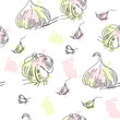 Seamless pattern with garlic
