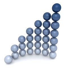 Glossy blue spheres business grow chart diagram