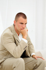 Young job seeker thinking about mistakes