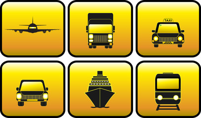 set glossy icon with transport silhouette