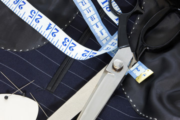 Still life hand stitched suit lining.
