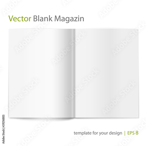 Blank magazine spread on white background. Template for design