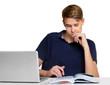 Teenage boy working on the laptop