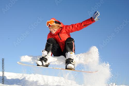 snowboarding woman