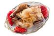 Pollo asado con pimientos rojos