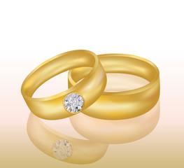 Golden Wedding rings, vector illustration