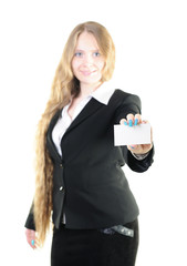 Young businesswoman with a business card