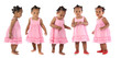 Five adorable babies pink dressed