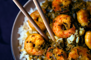 Curry Prawns with rice - Caribbean Tasy food 07