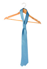 Blue tie on wooden hanger  isolated on white