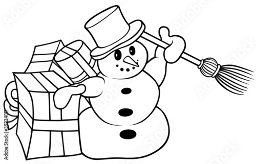 Snowman - Black and White Cartoon Illustration