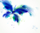 Abstract butterfly with blue and cyan blots