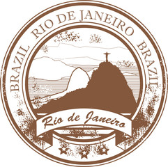 Stamp with the statue and text Rio de Janeiro, vector
