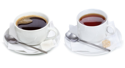 set with different cups of coffee and tea
