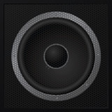 Black loudspeaker closeup - vector