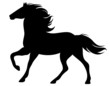 running horse silhouette - black vector outline