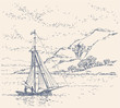 Vector landscape. Boat near the coast