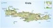 Griechenland.Landkarte von Kreta.