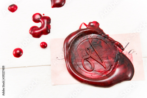 Wax seal on a letter
