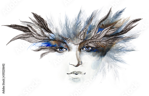 Aluminium Vrouw Gezicht feathers around eyes (series C)