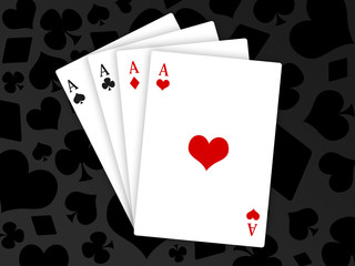 poker - carré d'as - cartes