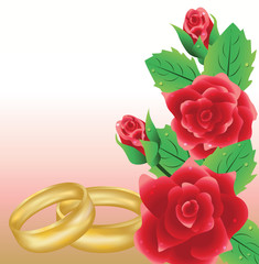 Wedding card with golden rings