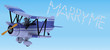 robot flying a biplane sky writing