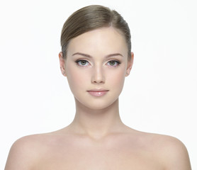 Portrait of beautiful  woman on white