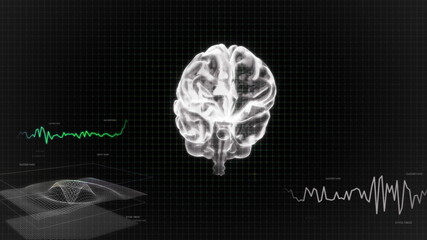 white 3d brain wave scanning screen