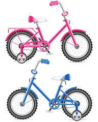 pink and blue kids bicycle vector illustration