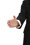 Hand of business man try to grasp on white background. poster