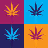 four cannabis leaf illustration in popart poster