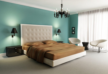 Chic luxury hotel green, orange, bedroom, with chandelier