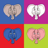 funny elephant head in popart style - illustration poster
