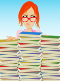 Fototapety Girl Wearing Glasses Behind a Stack of Books