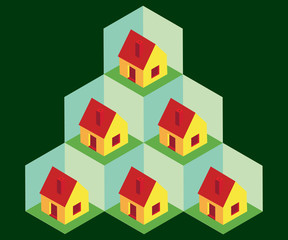 Isometric houses in cells - illustration