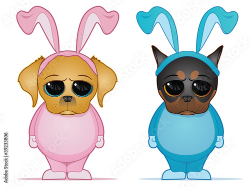 Easter Dogs in Bunny Costumes