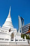 Temple versus modern shopping building in Bangkok poster