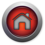 Home symbol for internet on red button