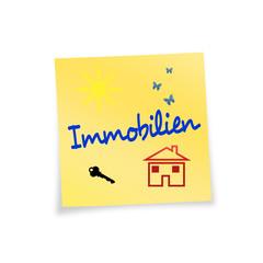 Notizzettel gelb Immobilien